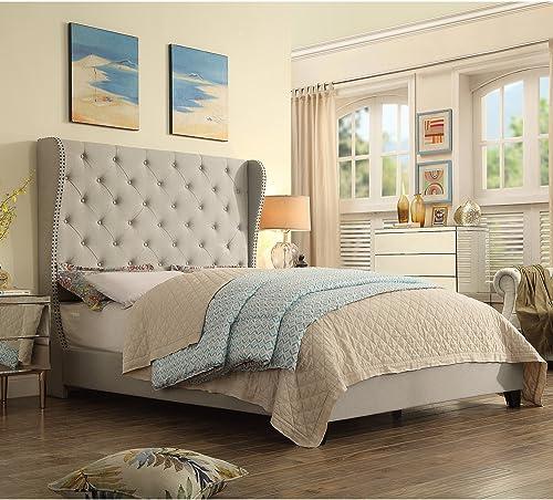 Rosevera C41C721 Olympia Upholstered Bed, Queen, Beige