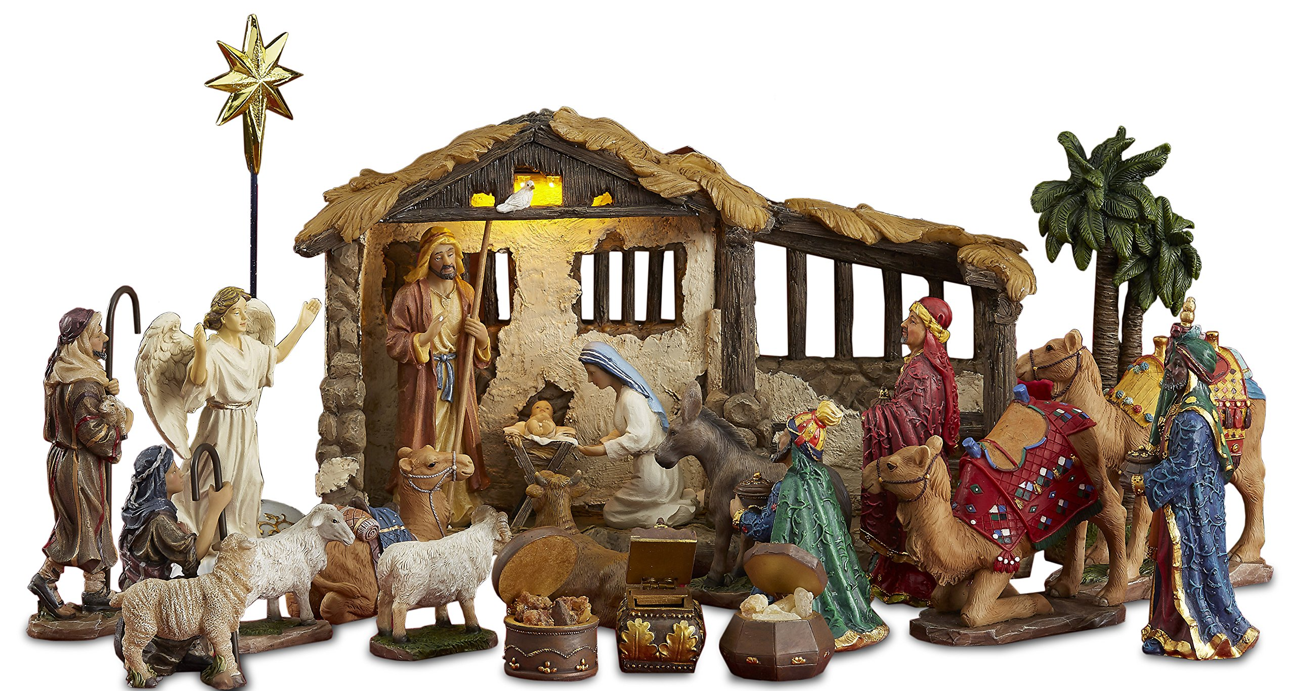 Three Kings Gifts 23 Pieces, 5-Inch The Real Life Nativity - Includes Lighted Stable, Palm Tree and Chests of Gold, Frankincense and Myrrh by Three Kings Gifts