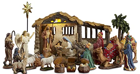 Three Kings Gifts 23 Pieces, 5-Inch The Real Life Nativity – Includes Lighted Stable, Palm Tree and Chests of Gold, Frankincense and Myrrh