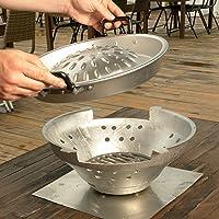 Thai Grill Grill-Set kleiner silber Grill Zusammenstellung Grill-Set Camping Balkon Picknick ✔ Deckel ✔ rund ✔ tragbar ✔ Grillen mit Holzkohle ✔ für den Tisch