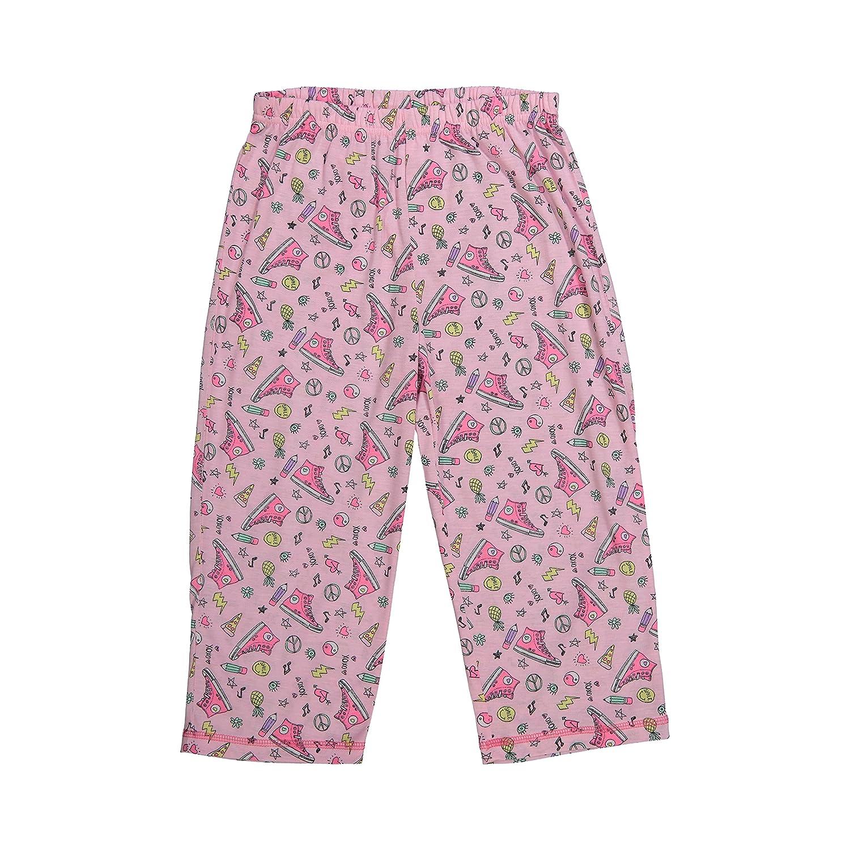 Big Girls Sleepwear Raglan Short Sleeve Sleep Shirt /& Capri Pants Pajama Set