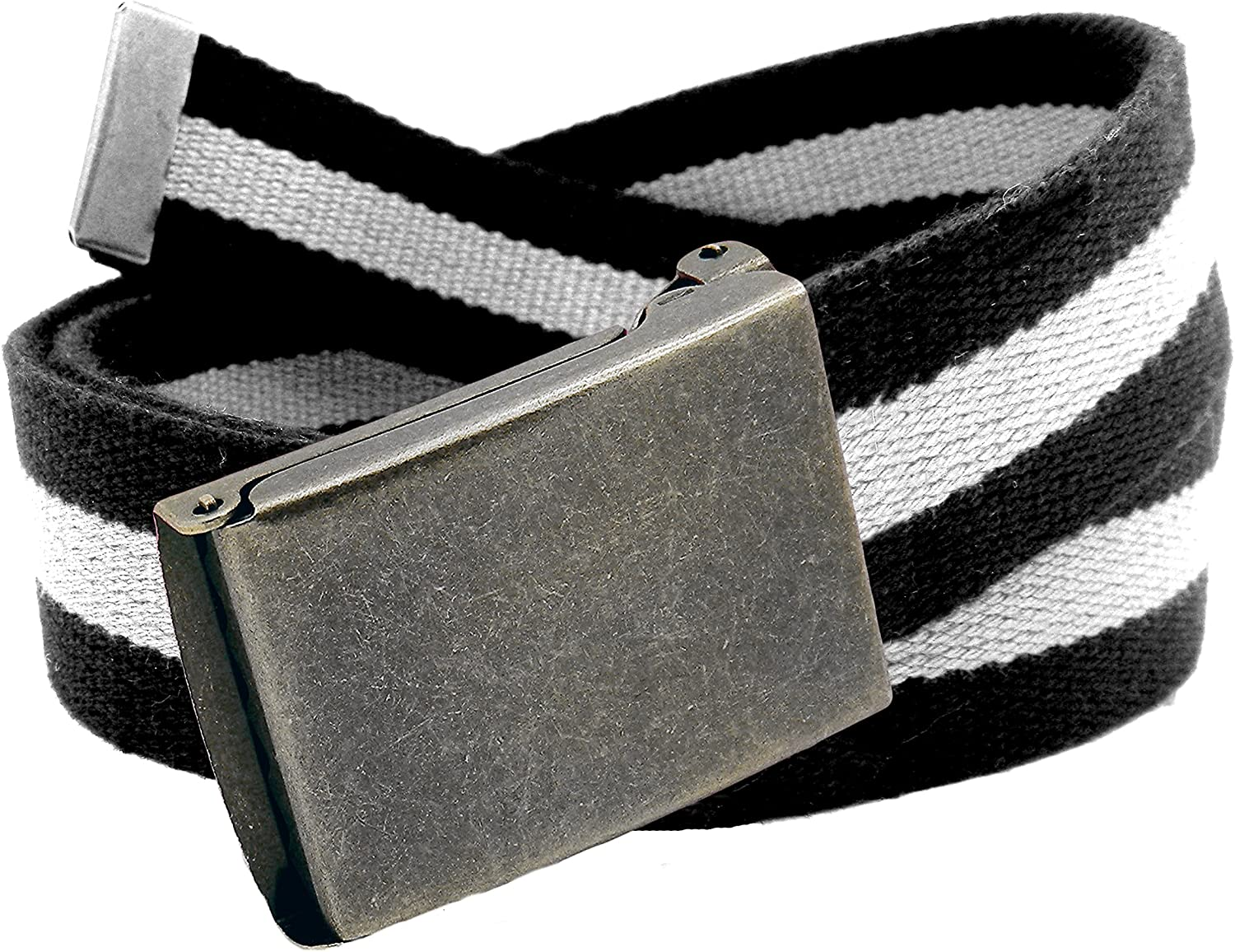 Womens Distressed Silver Flip Top Military Belt Buckle with Canvas Web Belt