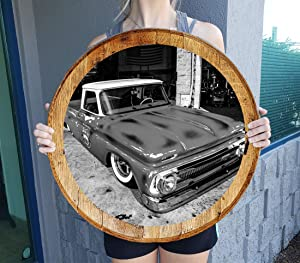 Barrel Head Sign American Hot Rod Patina Pickup Truck Gift Man Cave Wall Decor Natural Wood Brown 22 inch Wall Decor