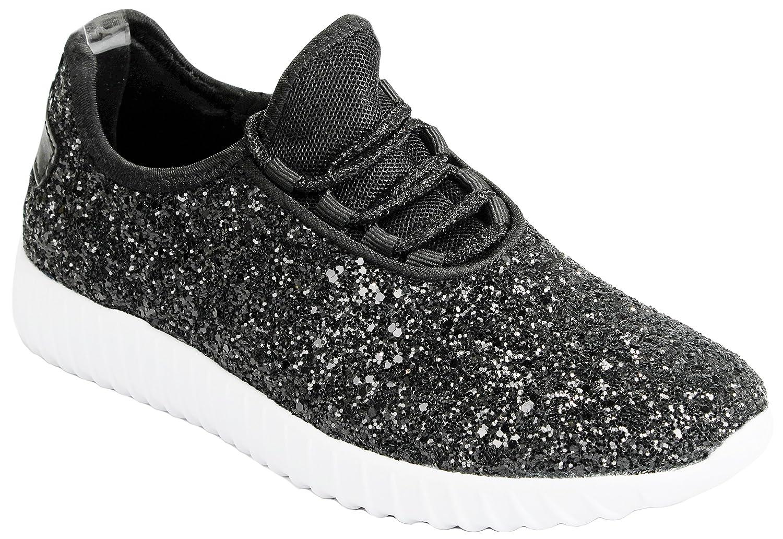 Women Fashion Metallic Sequins Glitter Lace up Light Weight Stylish Sneaker Shoes B076DRBRMD 6.5 B(M) US|Black