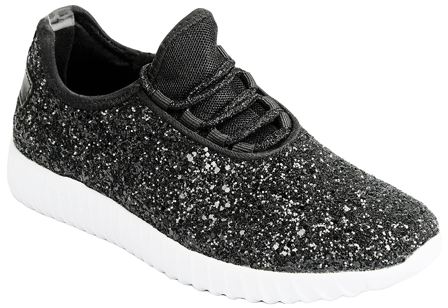 JKNY Kids Girls Fashion Metallic Sequins Glitter Lace up Light Weight  Stylish Sneaker Shoes