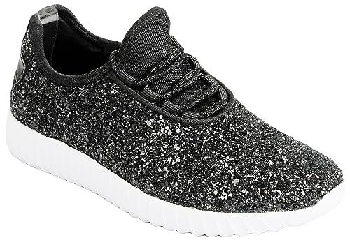Stylish Sneaker Shoes Lace Fashion Glitter Up Metallic Sequins Weight Women Light 0O8nvNwm