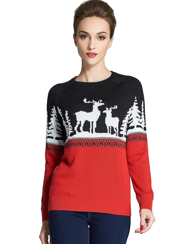 Camii Mia Women's Reindeer Snowflakes Pullover Crew Neck Ugly Christmas Sweater