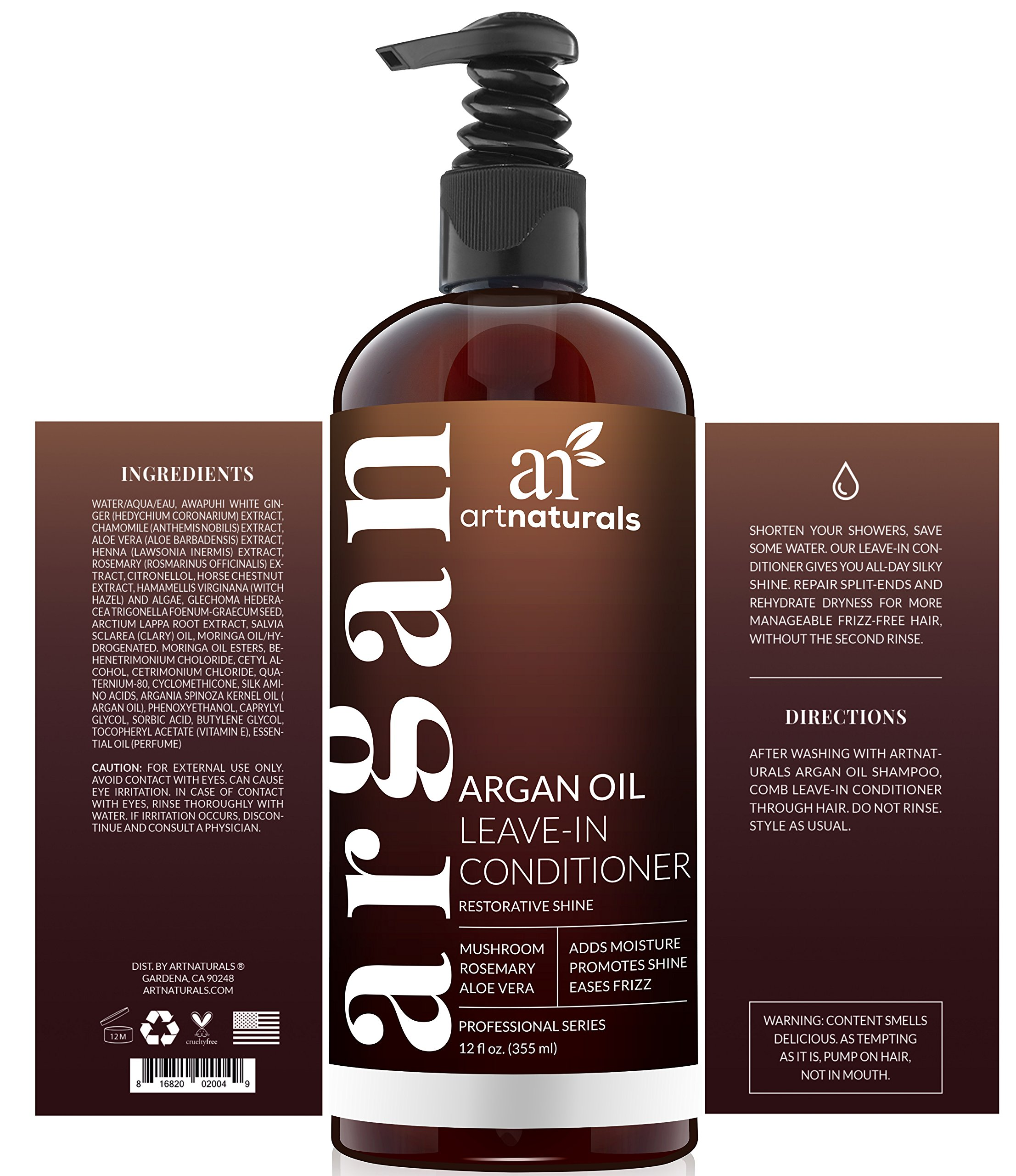 ArtNaturals Argan Oil Leave-In Conditioner - 12 oz Made with Organic and Natural Ingredients - for All Hair Types – Treatment for Damaged, Dry, Color Treated and Hair Loss by ArtNaturals (Image #2)
