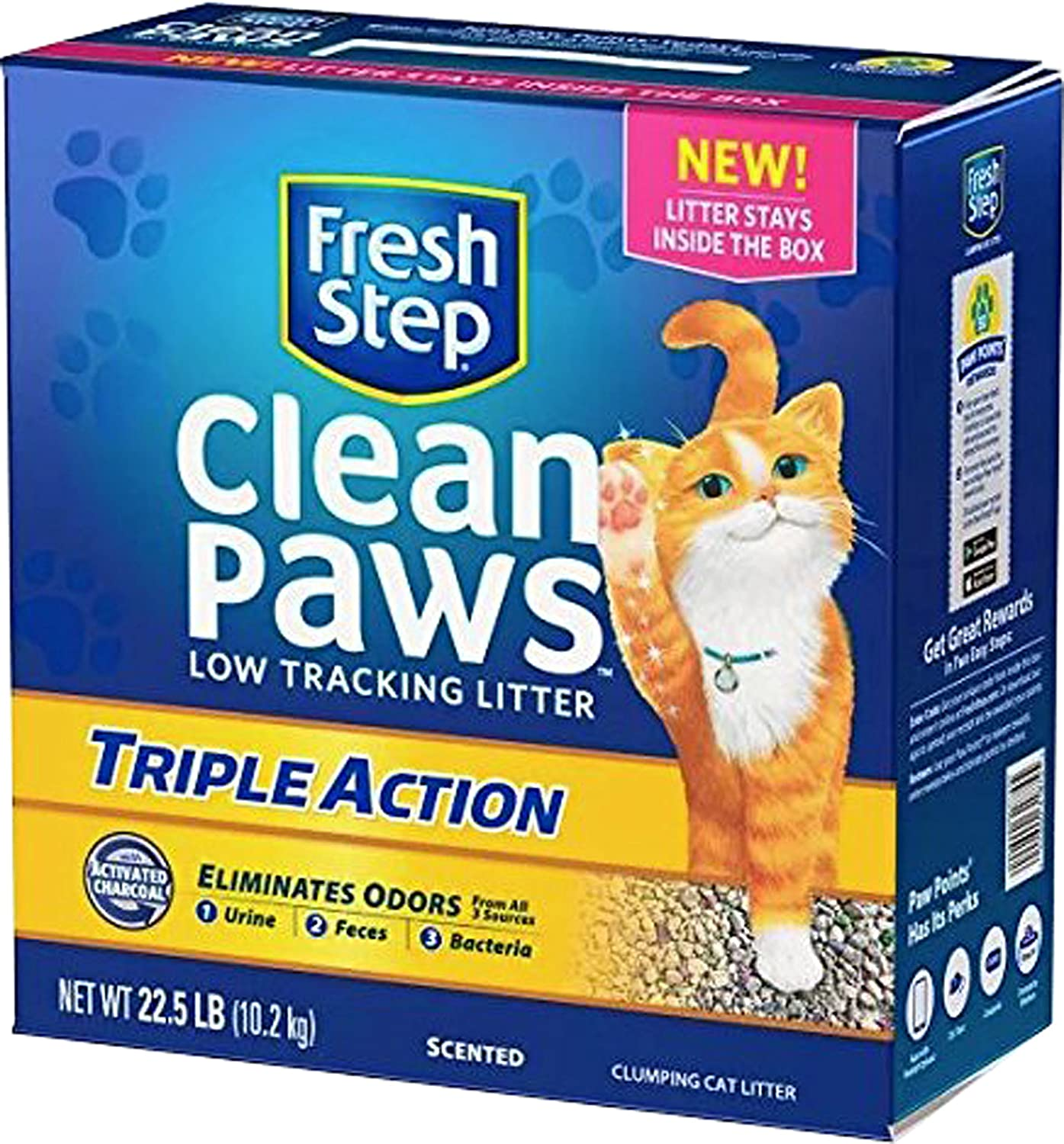 Fresh Step Clean Paws Triple Action Cat Litter Low Track Scented Low Dust 22.5lbs