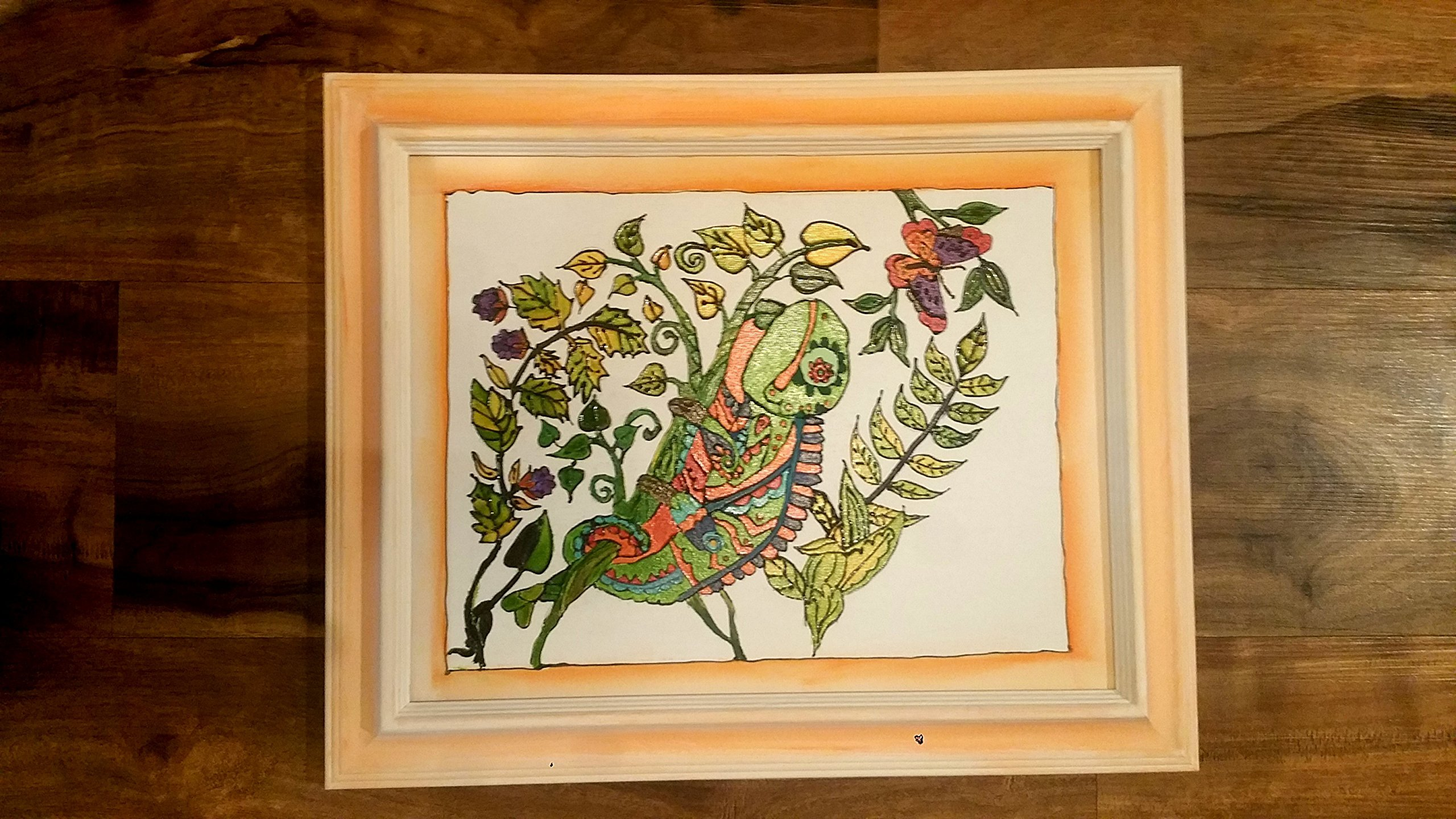 Iguana drawing on Canvas with painted wood frame