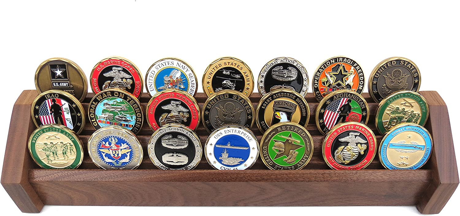 3 Row Challenge Coin Display Holder Military Coin Holder Display Stand Solid Walnut For Office Decor Bottom Silicone Anti Slip Pad Mimbarschool Com Ng