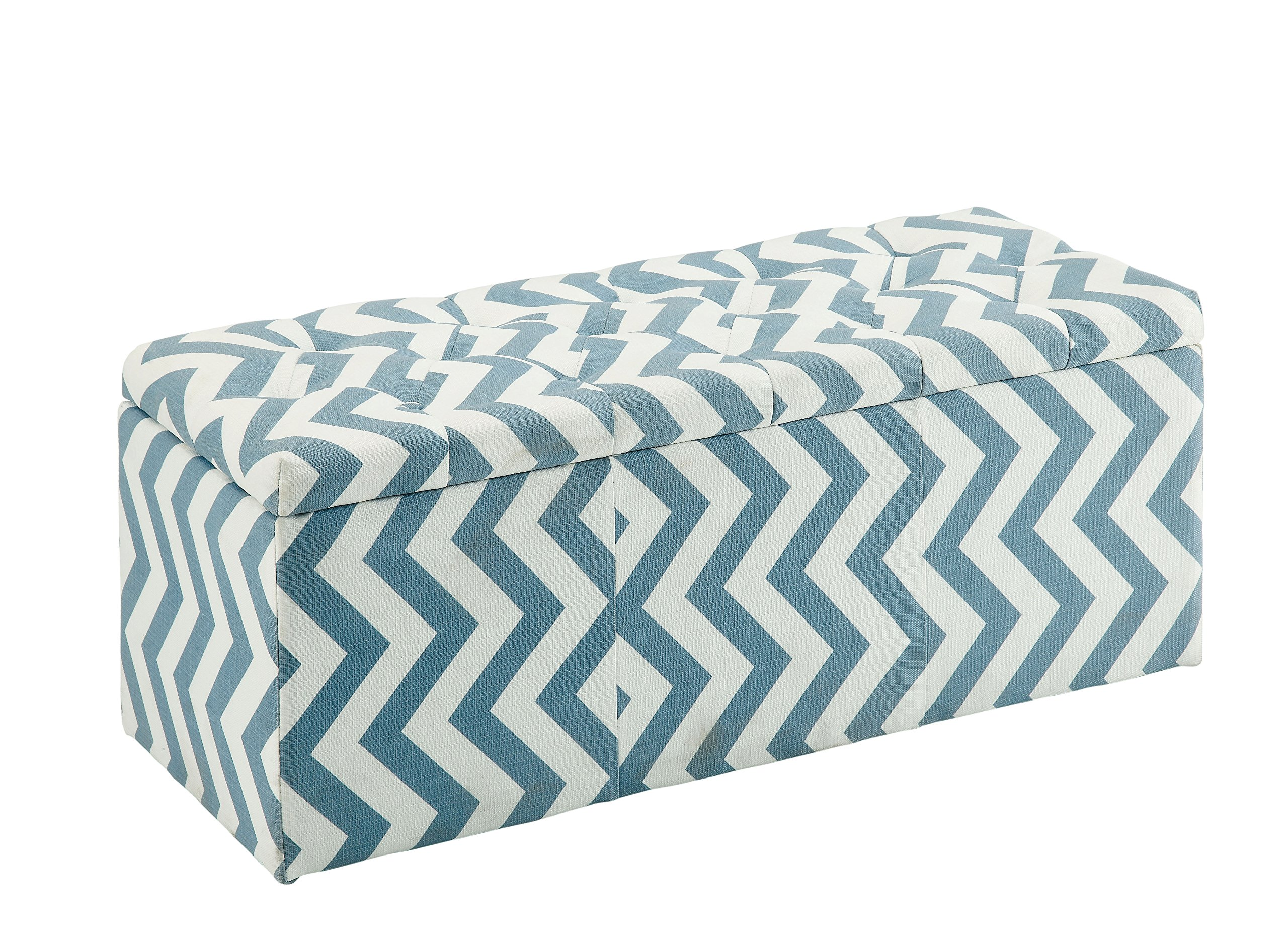 HOMES: Inside + Out IDF-BN6031BL Willy Chevron Storage Ottoman, Blue