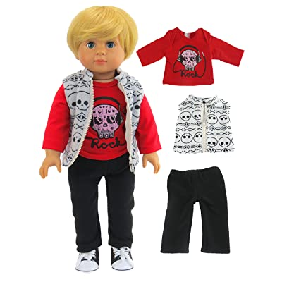 American Fashion World Skull Outfit for Boys fits 18 Inch Doll: Toys & Games