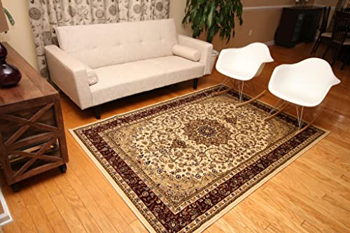 New City Cream Traditional Isfahan Wool Persian Area Rugs 5 2 x 7 3