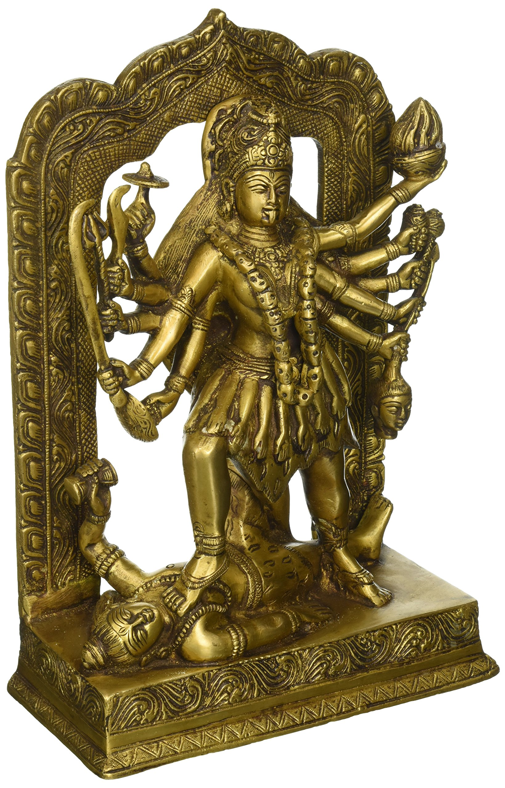 AONE INDIA Goddess Kali Brass Statue 4178 (11.50''H X 7.75''W X 3.75''D) + Cash Envelope (Pack Of 10)