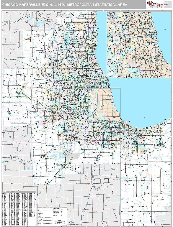 Amazon Com Marketmaps Chicago Naperville Elgin Il Metro Area Wall