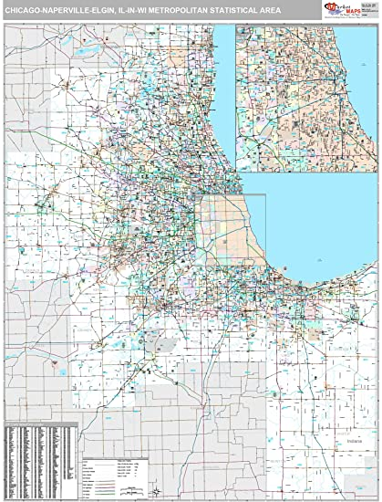 Amazon.com: MarketMAPS Chicago-Naperville-Elgin, IL Metro Area Wall ...