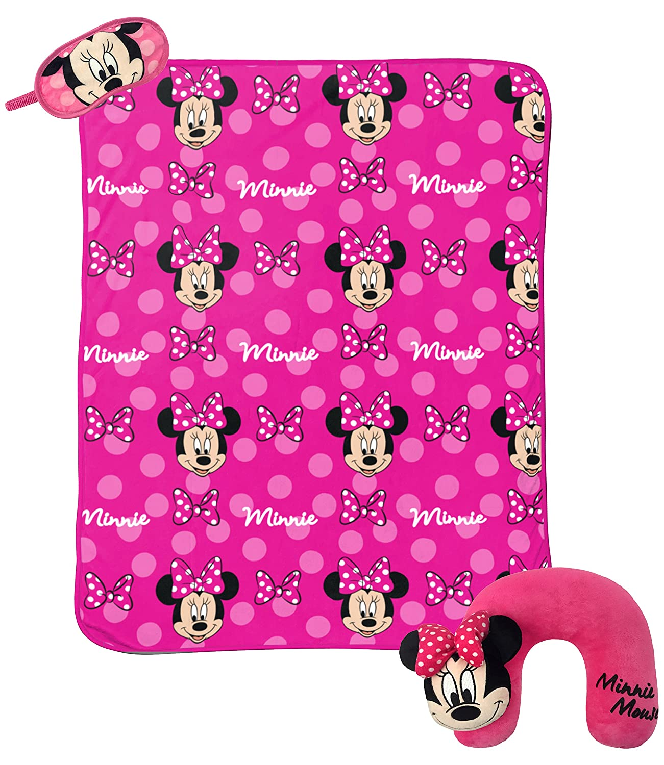"Jay Franco Disney Minnie Mouse Hearts 3-Piece Travel Gift Set with 40"" x 50"" Throw, Neck Pillow & Eye Mask"