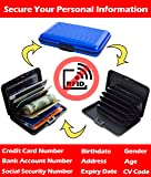 """""""Identity Theft Personal Data Protection - Passport Protection - RFID blocking - Includes 6 Blocking Sleeves, 2 Passport Blocking Sleeves,1 Protected Aluminum Wallet"""" by Gecko Travel Tech – BLUE"""