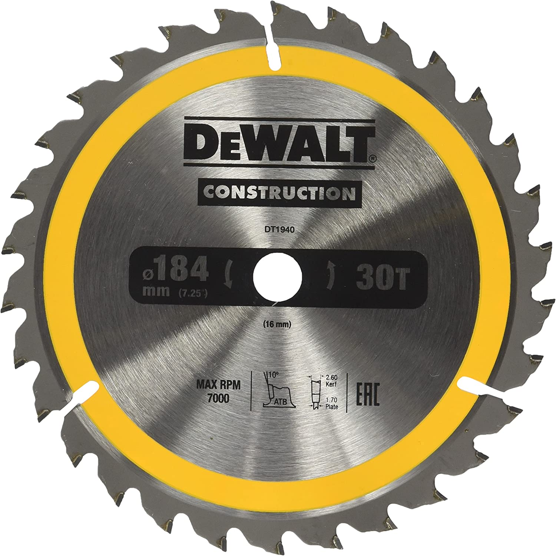 DEWALT DT1938-QZ 184mm x 16mm 18T Construction Circular Saw Blade
