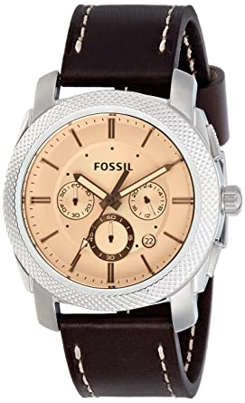 Fossil Mens FS5170 Machine Chronograph Dark Brown Leather Watch
