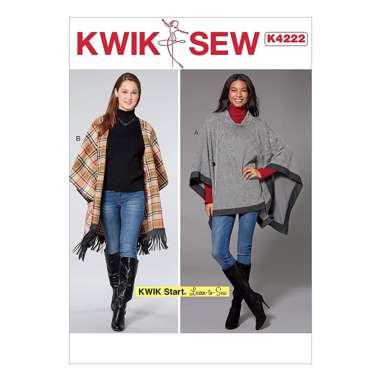 KWIK-SEW PATTERNS K4222OSZ K4222 Misses Button Detail, Size XS-S-M-L-XL Ponchos Kwik Sew Patterns