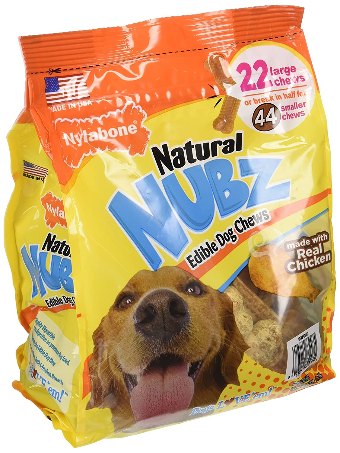 pack of 2 Nylabone Natural Nubz Edible Dog Chews 22ct. 2.6lb bag -Total 5.2lb