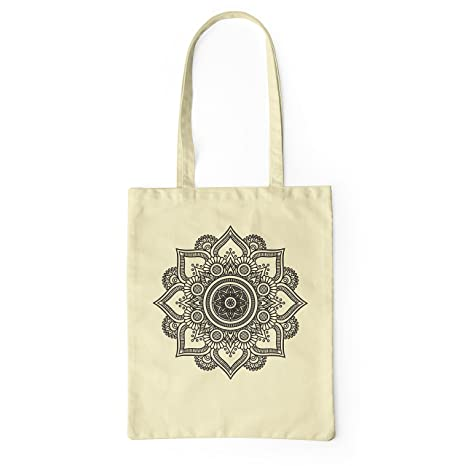 LaMAGLIERIA Bolsa de Tela Mandala Black Print Man02 - Tote Bag Shopping Bag 100% algodón, Natural