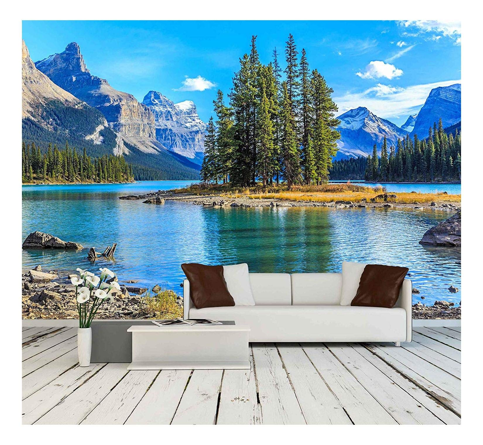 wall26 - Spirit Island in Maligne Lake - Removable Wall Mural | Self-Adhesive Large Wallpaper - 66x96 inches by wall26