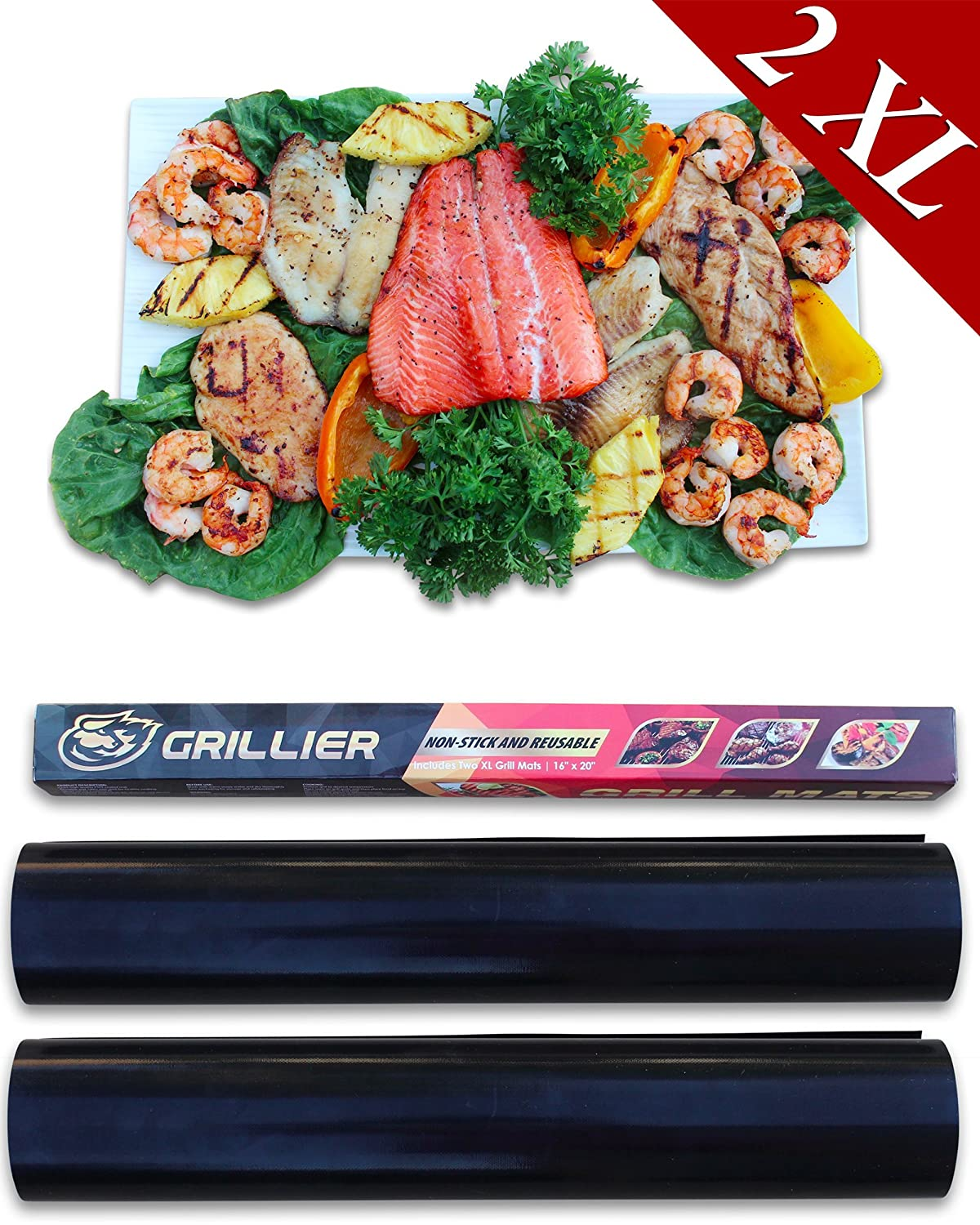 Grillier BBQ Grill Mat - Set of 2 XL Mats 20x16 Best Healthy Non-Stick Baking Sheet - Ultimate Outdoor and Oven Cooking Liner - For Charcoal, Gas and Electric Barbecue Grills - Launch Offer
