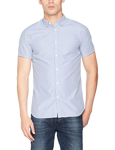 16057321, Camisa para Hombre, Azul (Light Blue Stripes:White), Medium Selected