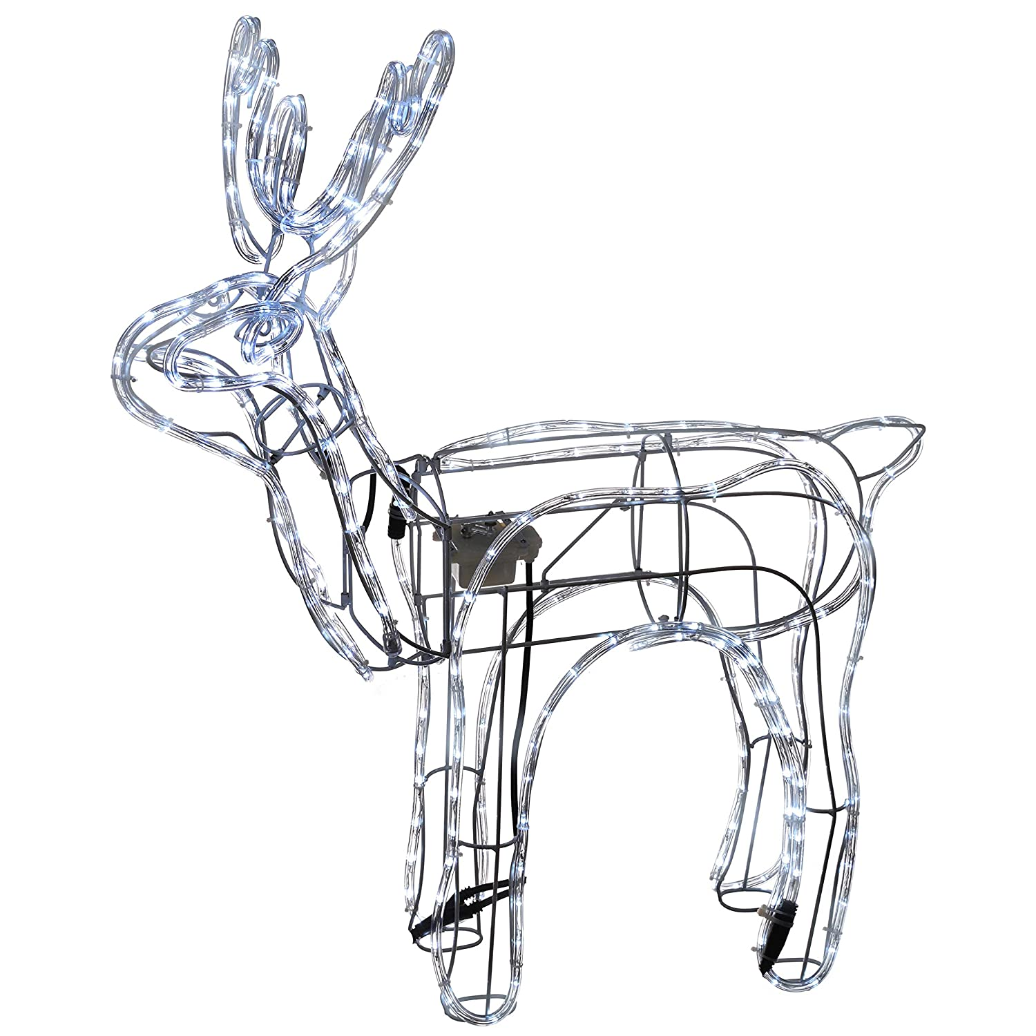 WeRChristmas Christmas Animated LED Rope Light Standing Reindeer with Moving Head, 90 cm - White WRC-6103