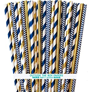 Navy Blue and Gold Foil Paper Straws - Stripe Chevron Solid - 100 Pack