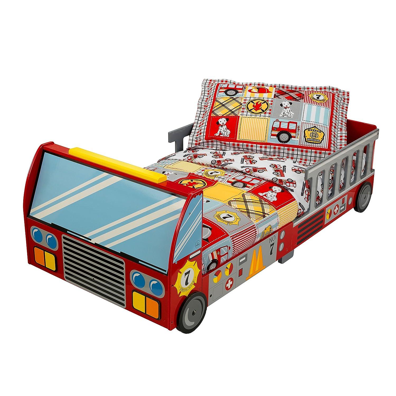 KidKraft 76031 Lettino Stile Camion dei Pompieri con Giroletto in Legno, Mobili per Camera da Letto per Bambini KidKraft Netherlands BV