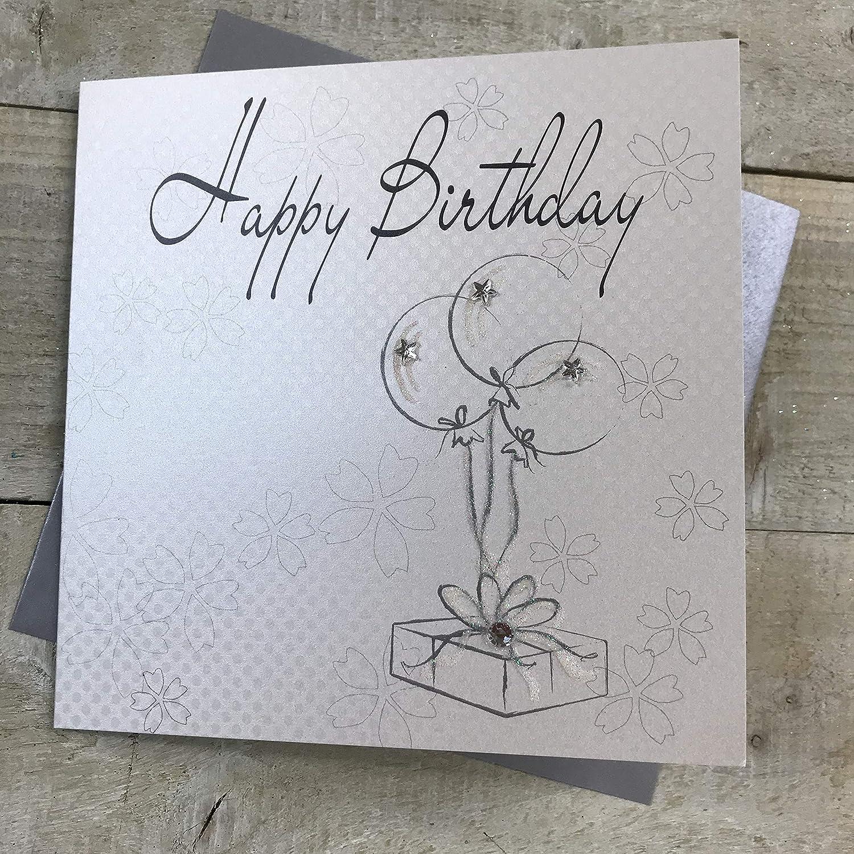 White Cotton Cards Handmade Happy Birthday Card White Wb234 Amazon Co Uk Kitchen Home