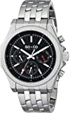 SO&CO New York Men's 5003.1 Monticello Quartz Chronograph Day and Date Black Dial Stainless Steel Link Bracelet Watch