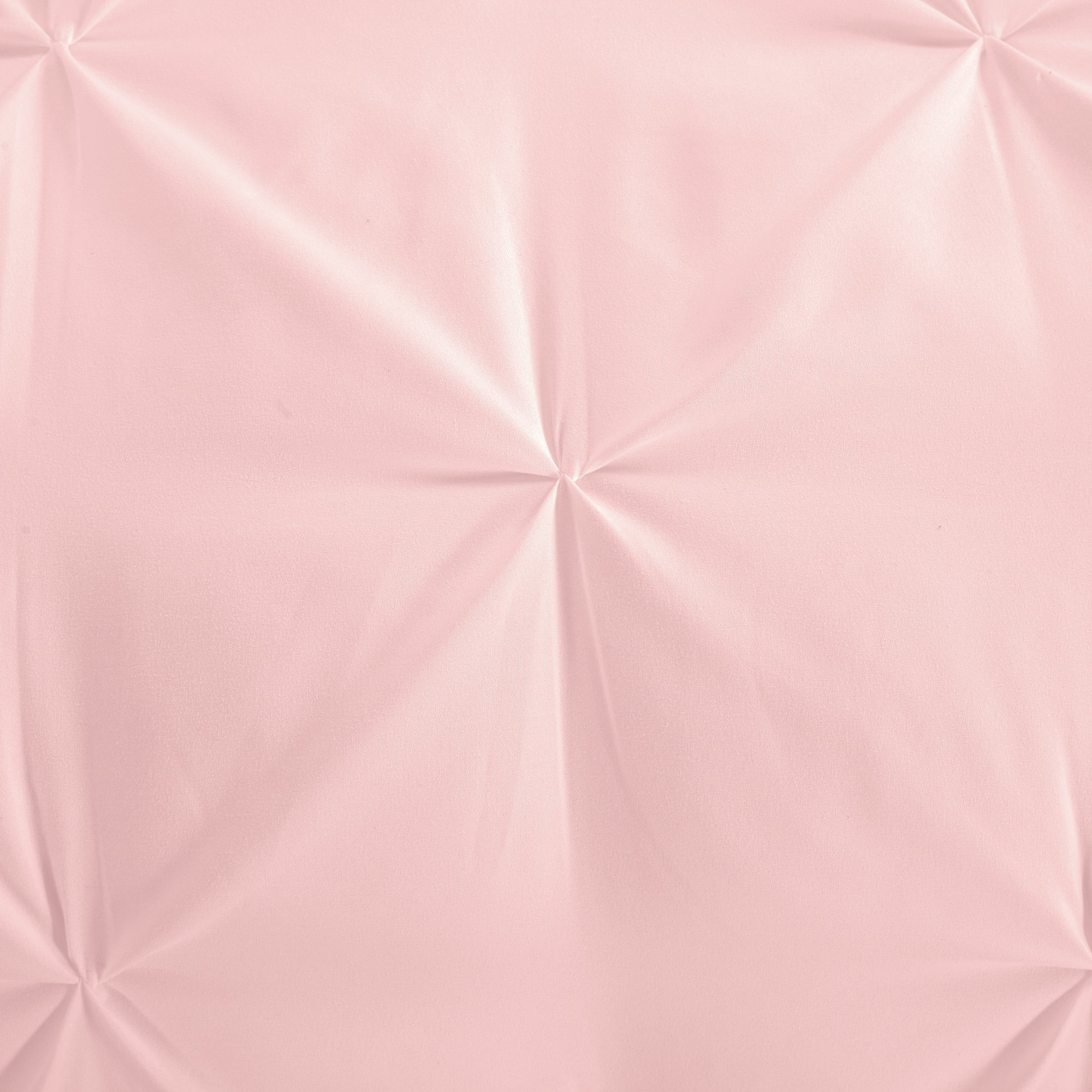 EVOLIVE 3pc Set Pinch Pleat/Kiss Pleat, Pintuck Down Alternative Comforter Set with Pompom (Twin, Pink) by EVOLIVE (Image #3)