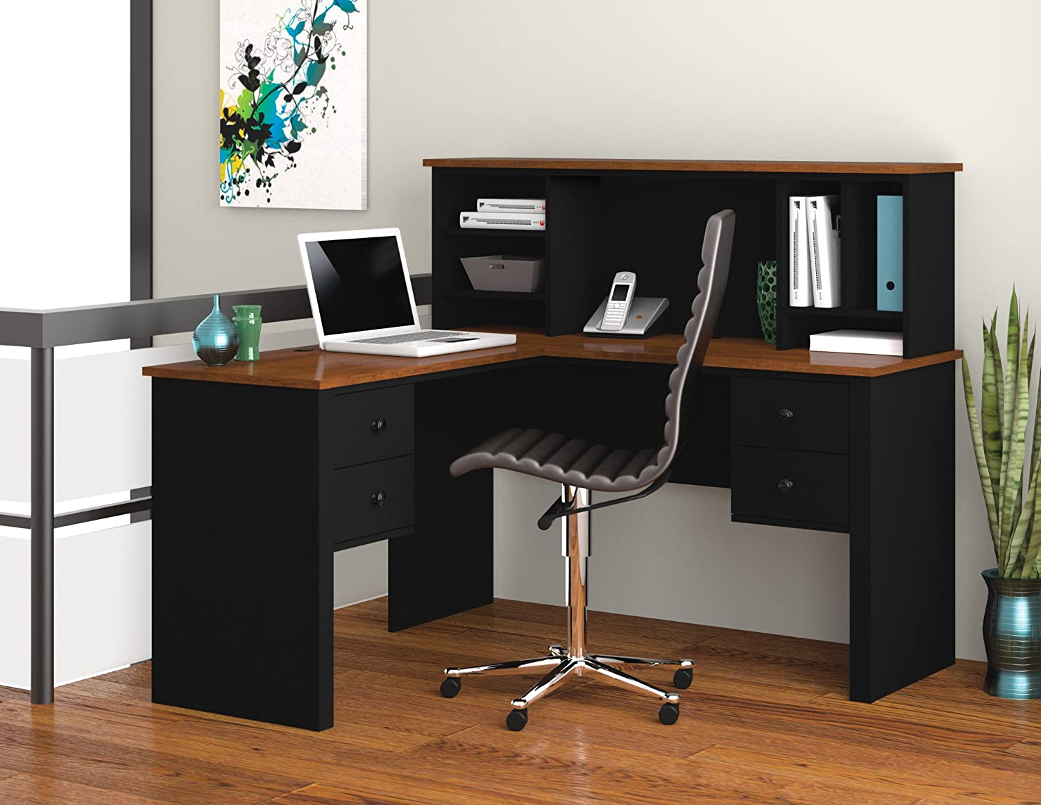 Charmant Amazon.com: Bestar Furniture 45850 18 Somerville L Shaped Desk With Hutch  Simple Pulls And Scratch Stain And Burn Resistant In Black And Tuscany:  Kitchen U0026 ...