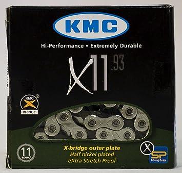 KMC Cha/îne 11 Vitesses pour Adulte X11 SL X11SL 11 Vitesses 1//2 x11//128 118 maillons Argent/é
