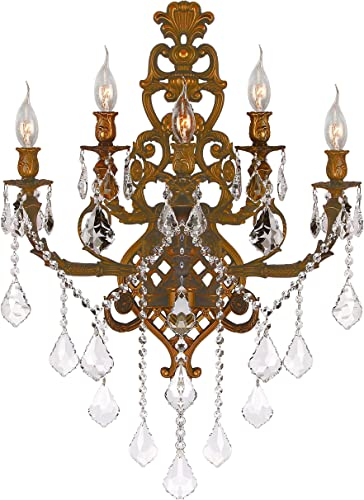 """Worldwide Lighting Versailles Collection 5 Light French Gold Finish Crystal Wall Sconce 19"""" W x 32"""" H Large Two 2 Tier"""