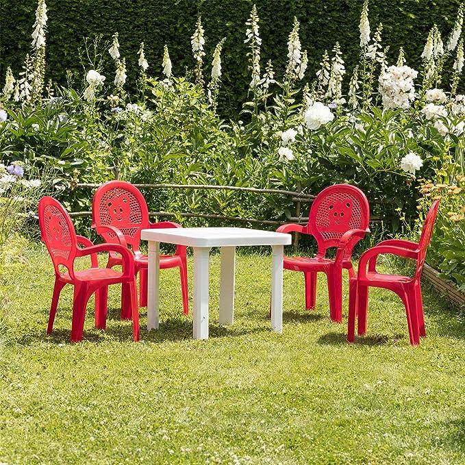 resol Niños sillas de Jardín plástico para Jardín y Exteriores y Juego de Mesa - Rojo sillas, Blanca - Muebles para Niños (Unidades 2 sillas y 1 Mesa): ...