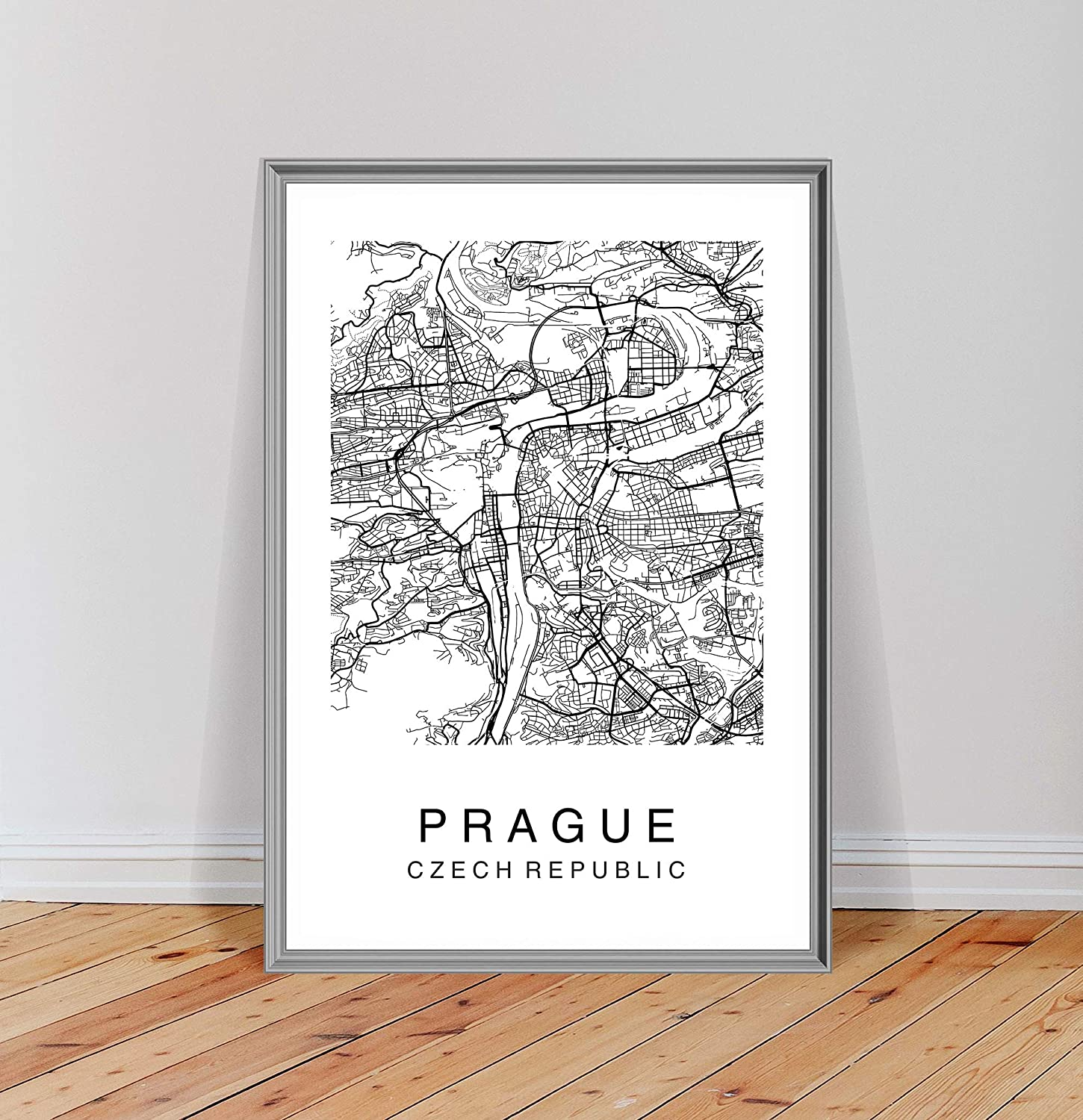 City Map of Prague Poster Print Modern Black and White Wall Art Home Decor Minimalist Art
