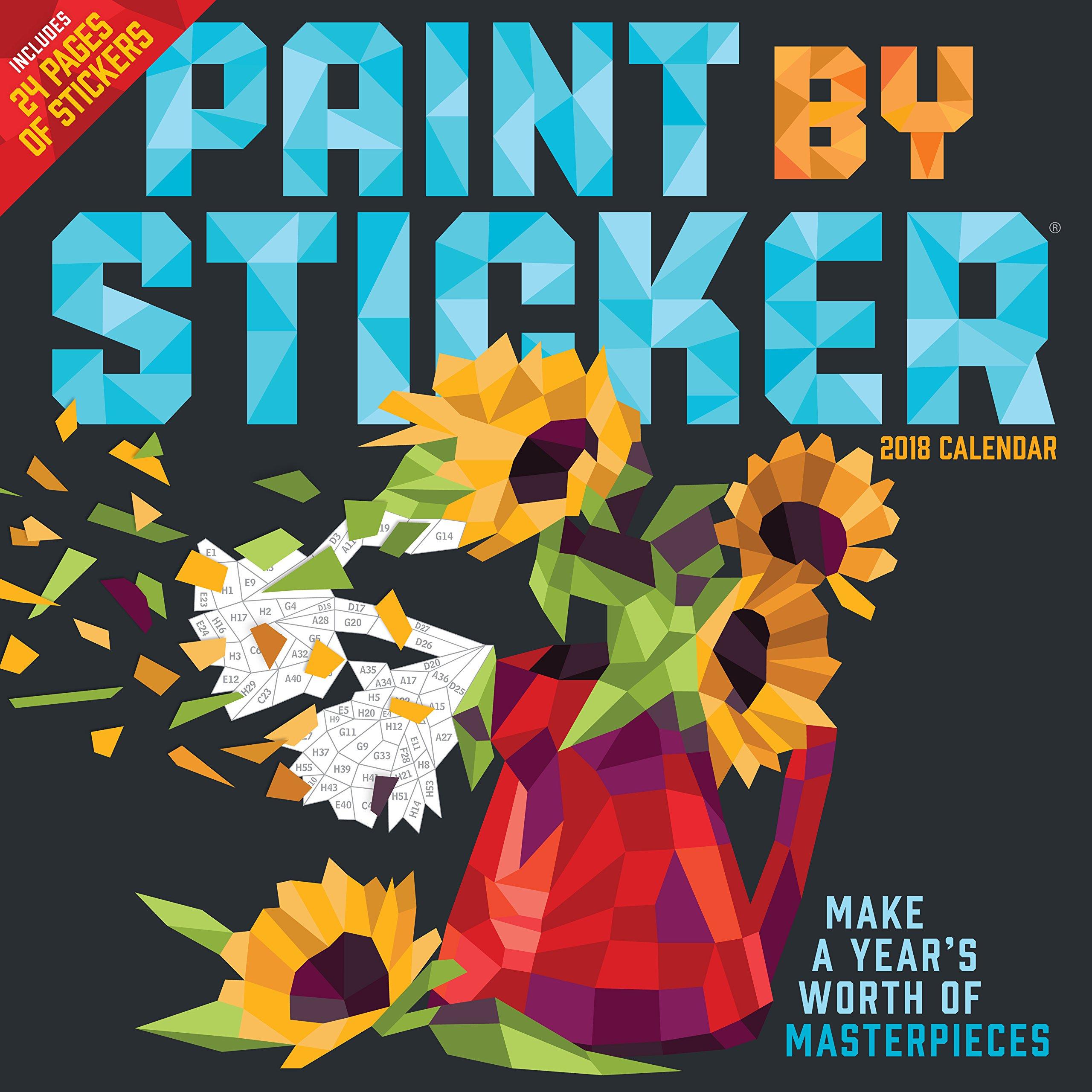 Paint by Sticker Wall Calendar 2018
