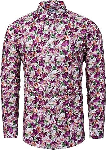 fohemr Camisa de Manga Larga con Estampado Floral para Hombre Casual 100% algodón: Amazon.es: Ropa y accesorios