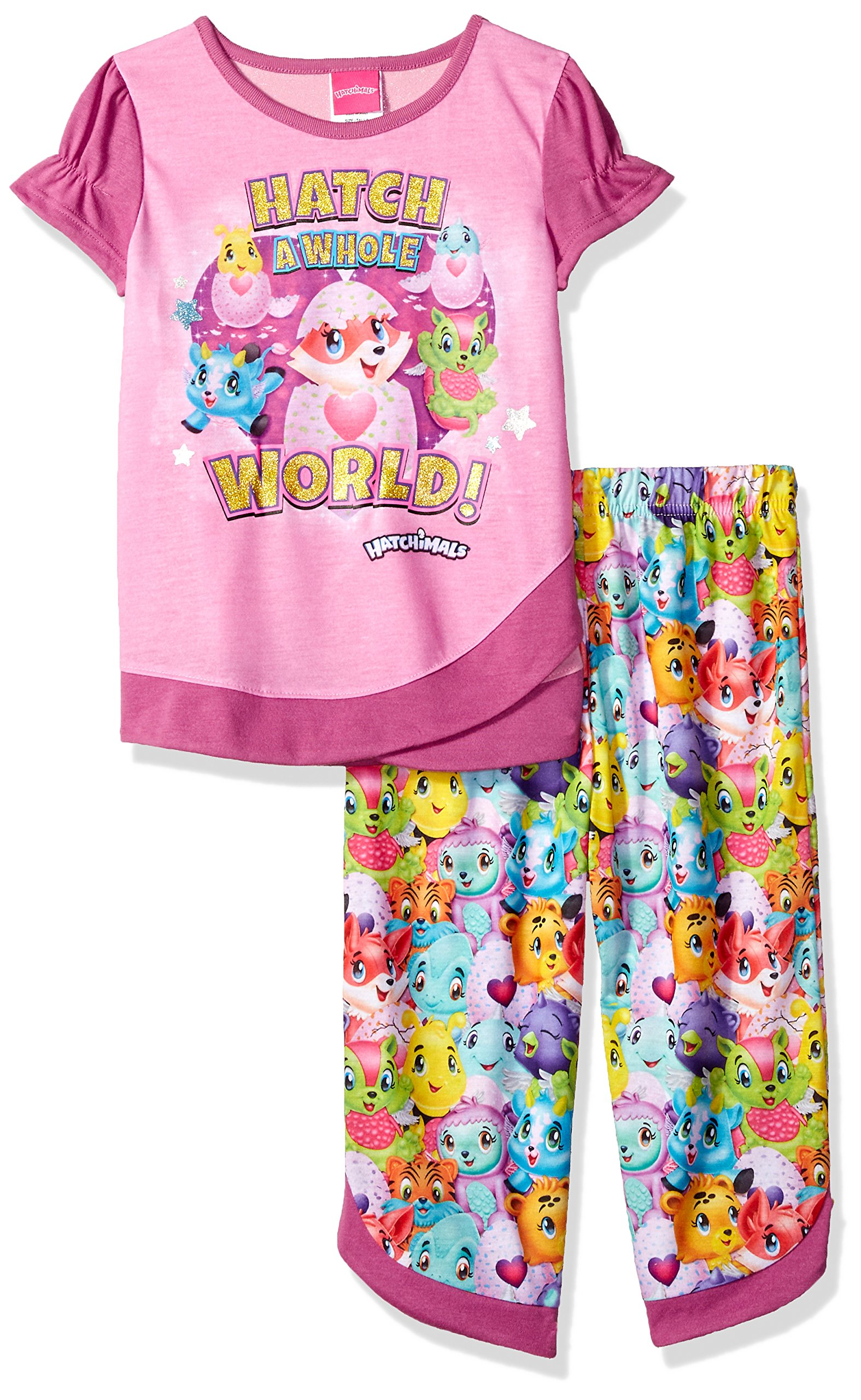 Hatchimals Girls' Little 2-Pc Pajama Set, Long Sleeve W/Pant, Pink/Print, 4-5