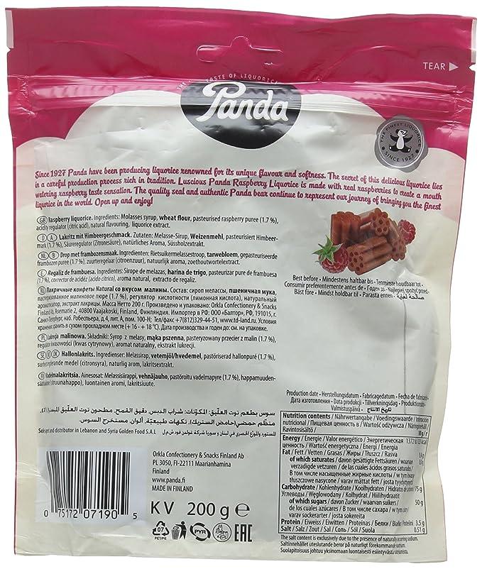 Panda Natural Raspberry Licorice 200 g (Pack of 6)
