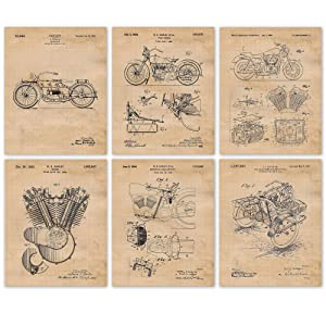 Vintage Harley Davidson Patent Poster Prints, Set of 6 (8x10) Unframed Photos, Wall Art Decor Gifts Under 20 for Home, Office, Man Cave, College Student, Teacher, American Motorcycles Touring Fan