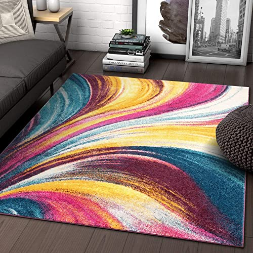 Modern 8×11 7 10 x 10 6 Area Rug Borealis Bright Multi Fuchsia Purple Blue Yellow Waves Ombre Abstract Brush Stroke Stripe Lines Contemporary Thick Soft Plush