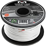 Mediabridge 12AWG 2-Conductor Speaker Wire (100 Feet, White) - 99.9% Oxygen Free Copper – UL Listed CL2 Rated for In-Wall Use (Part# SW-12X2-100-WH )