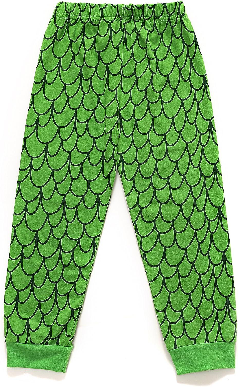 EULLA Jungen Dinosaurier Schlafanzug Baumwolle Lange Nachtw/äsche Kinder Pyjama 92 98 104 110 116